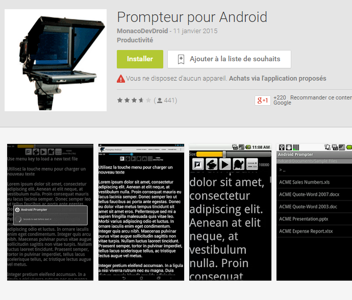 android prompteur
